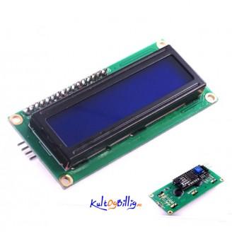 LCD1602 skjerm + påmontert I2C modul - blå