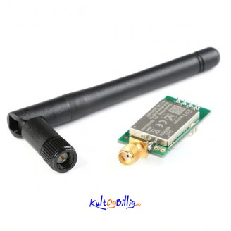 NRF24L01+PA+LNA 2.4GHz RF Trådløs Transceiver E01-ML01DP5 m/ antenne 20dBm