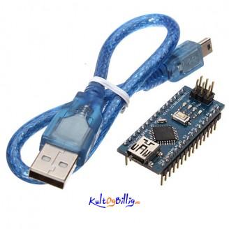 ATmega328P Arduino Nano V3 kompatibelt kort. USB-kabel medfølger.