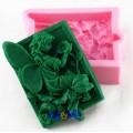 Silikonform til såpe, sjokolade m.m. motiv av fe og blomst