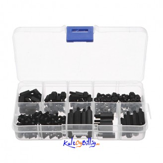 180 stk M3 Nylon Sort M-F Hex Spacers Skrue Mutter Assortement Kit